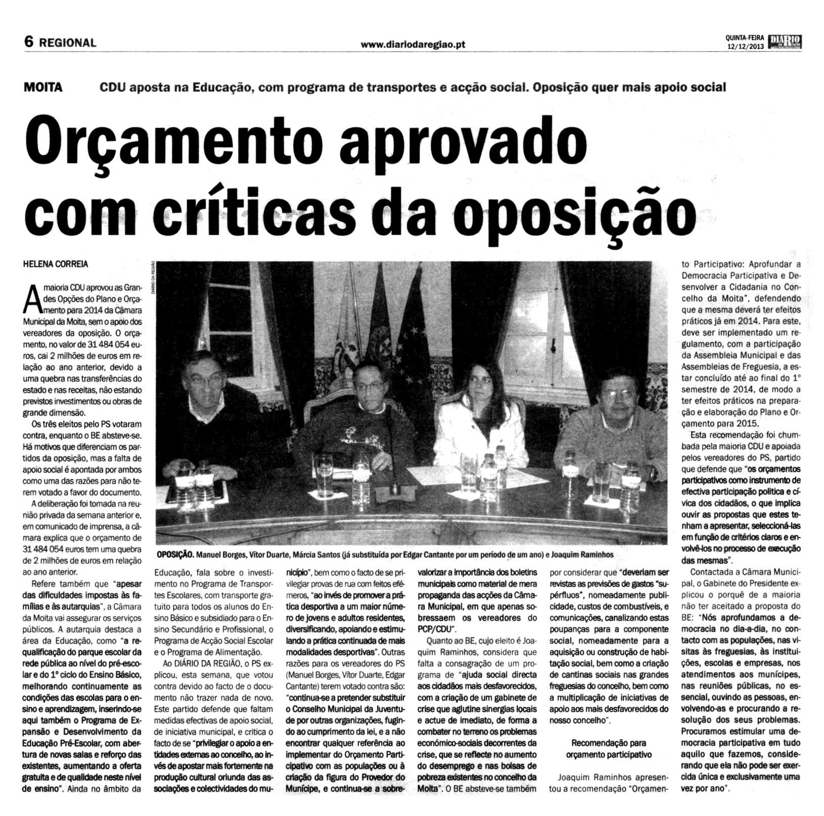 Artigo do Diário da Região [12-12-2013]