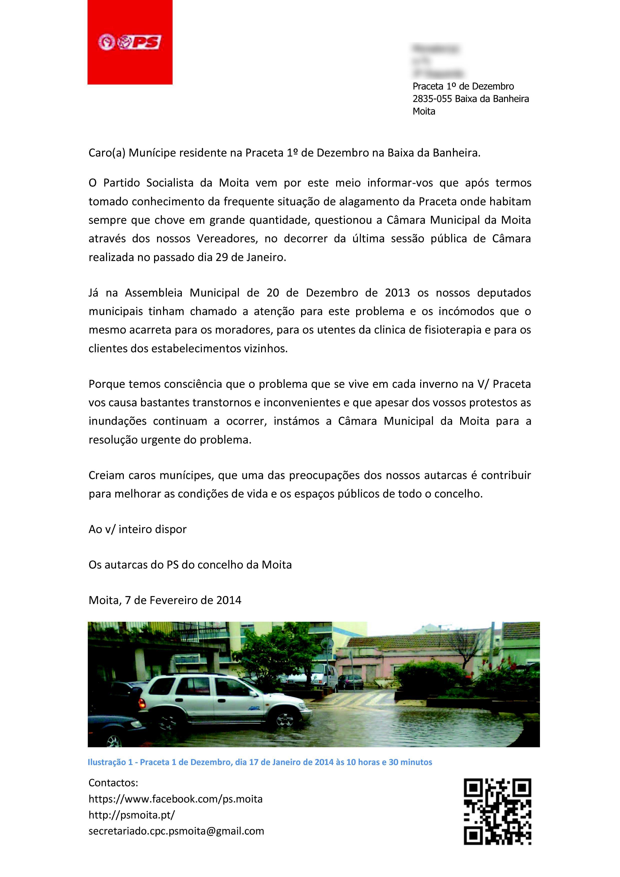Carta aos moradores da Praceta 1.º de Dezembro, Baixa da Banheira