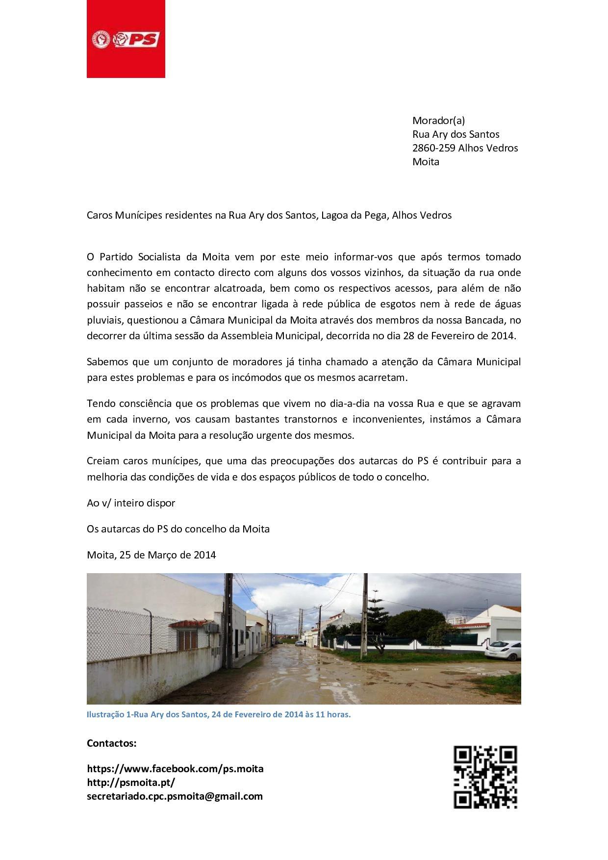Carta aos moradores da Rua Ary dos Santos, Alhos Vedros